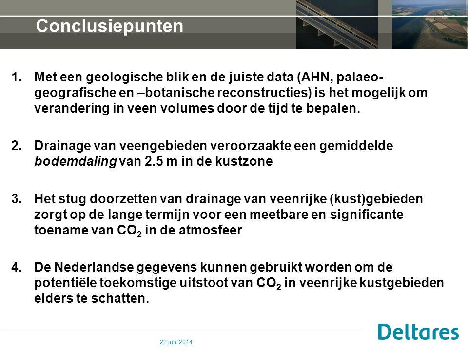 22 juni 2014 Conclusiepunten 1.Met een geologische blik en de juiste data (AHN, palaeo- geografische en –botanische reconstructies) is het mogelijk om