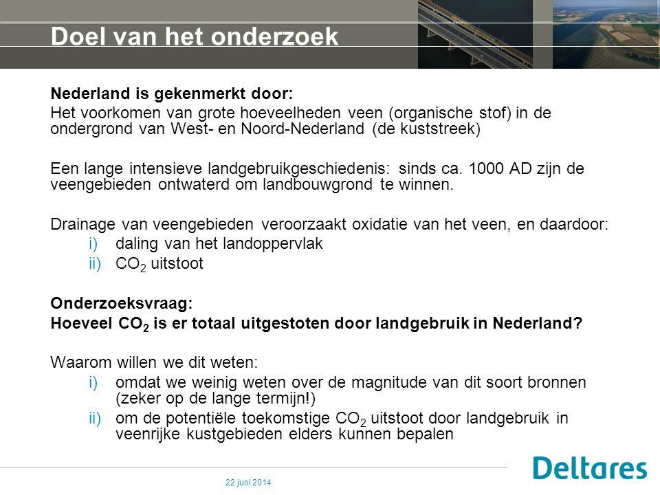 22 juni 2014 Doel van het onderzoek Nederland is gekenmerkt door: Het voorkomen van grote hoeveelheden veen (organische stof) in de ondergrond van Wes