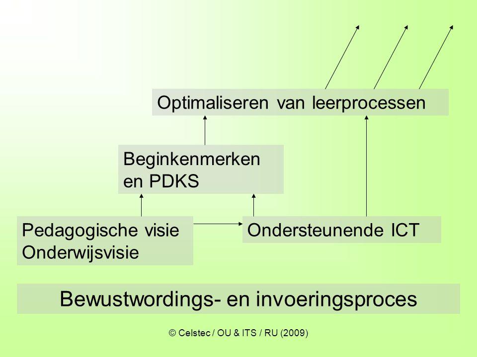 © Celstec / OU & ITS / RU (2009) Optimaliseren van leerprocessen Ondersteunende ICT Beginkenmerken en PDKS Bewustwordings- en invoeringsproces Pedagog