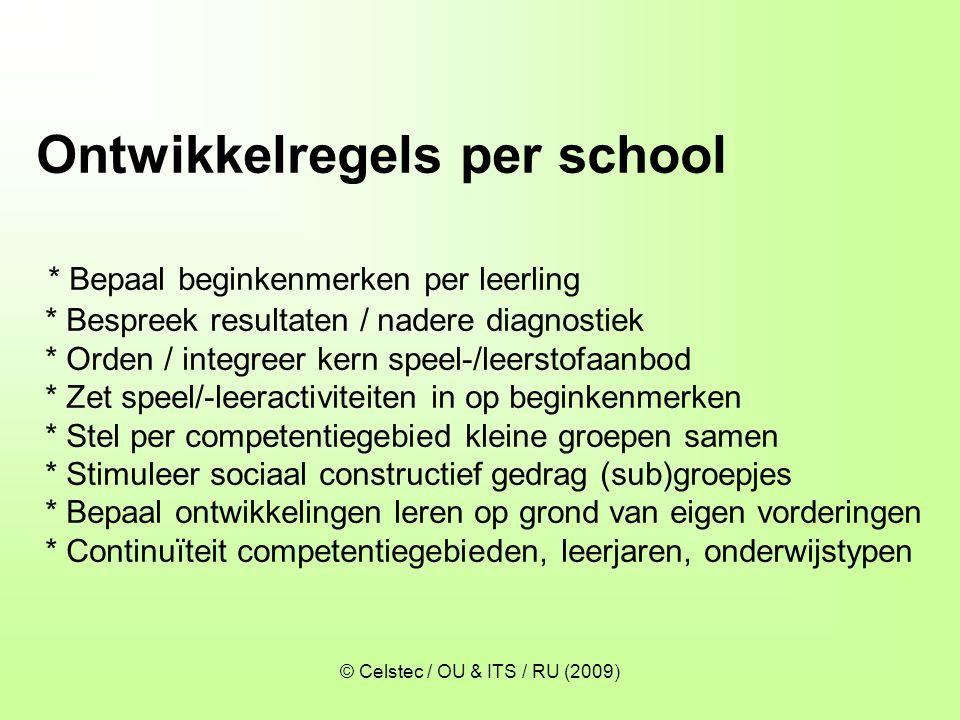 © Celstec / OU & ITS / RU (2009) Ontwikkelregels per school * Bepaal beginkenmerken per leerling * Bespreek resultaten / nadere diagnostiek * Orden /