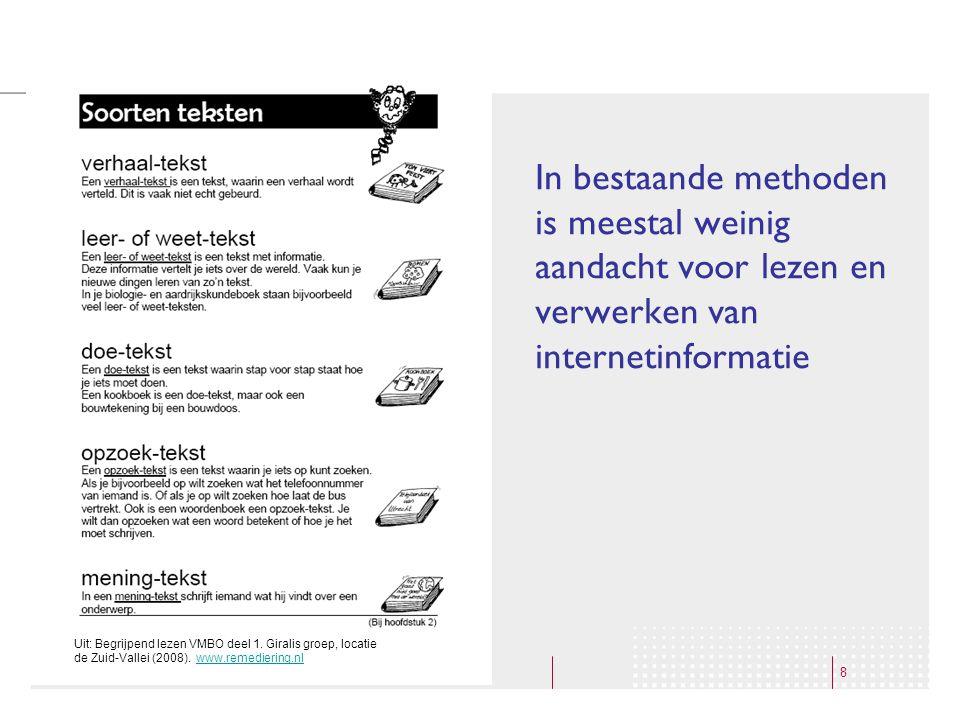 8 In bestaande methoden is meestal weinig aandacht voor lezen en verwerken van internetinformatie Uit: Begrijpend lezen VMBO deel 1. Giralis groep, lo