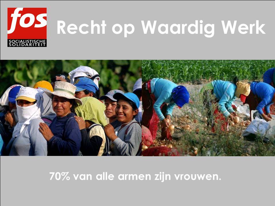 Recht op Waardig Werk 70% van alle armen zijn vrouwen.