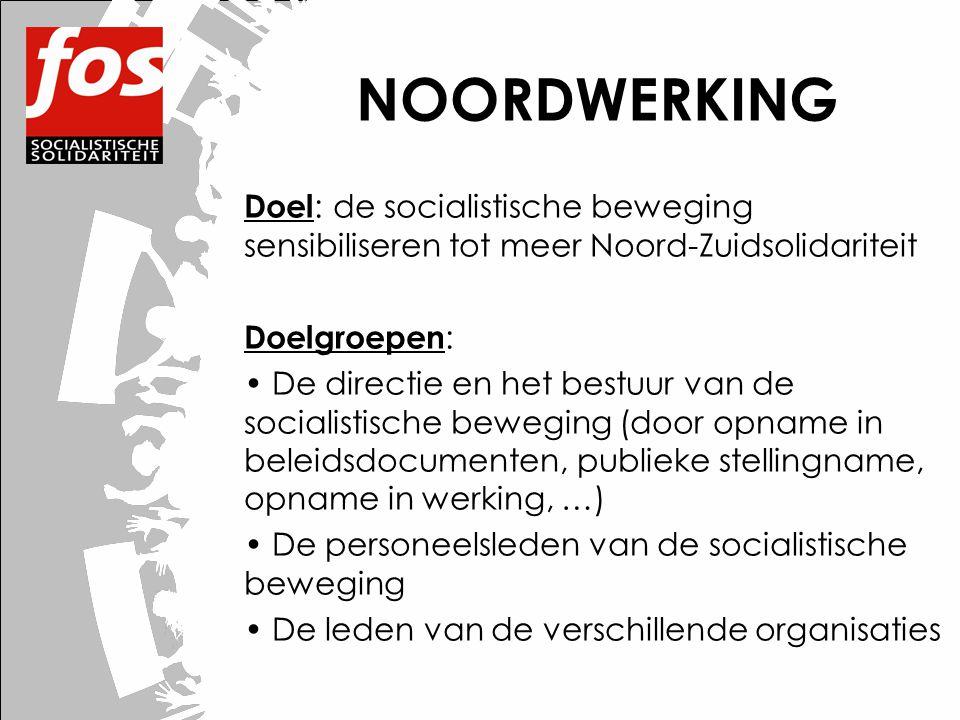 NOORDWERKING Doel : de socialistische beweging sensibiliseren tot meer Noord-Zuidsolidariteit Doelgroepen : • De directie en het bestuur van de social
