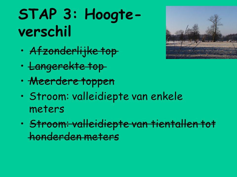 STAP 3: Hoogte- verschil •Afzonderlijke top •Langerekte top •Meerdere toppen •Stroom: valleidiepte van enkele meters •Stroom: valleidiepte van tientallen tot honderden meters