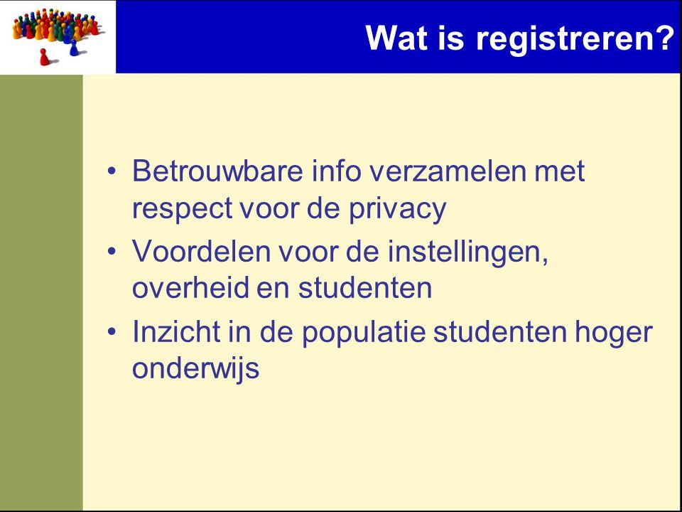 Wat is registreren? •Betrouwbare info verzamelen met respect voor de privacy •Voordelen voor de instellingen, overheid en studenten •Inzicht in de pop