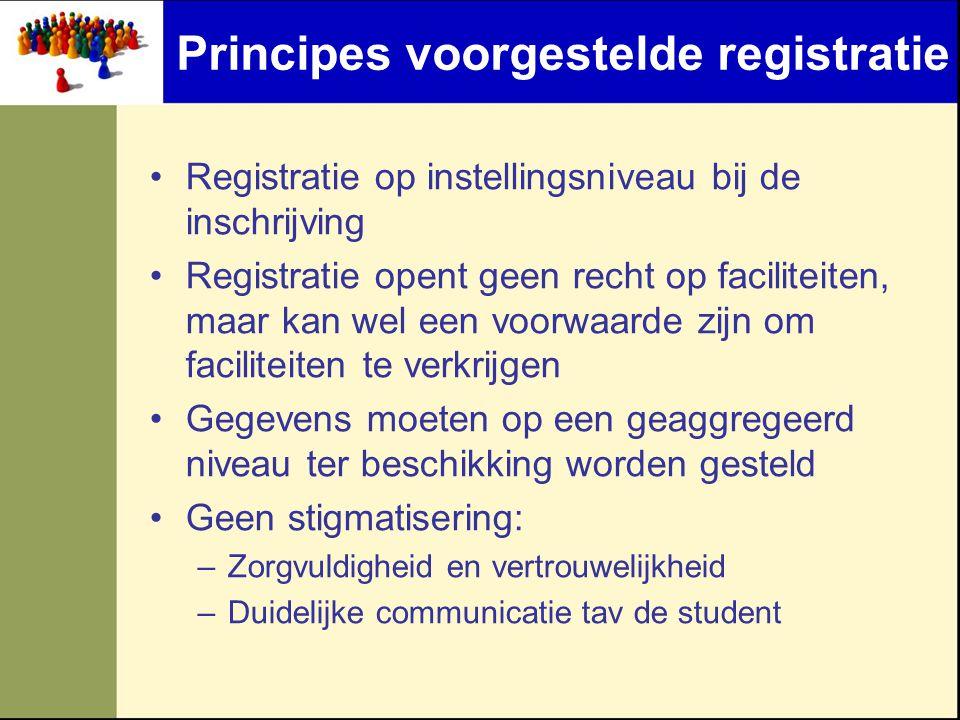 Principes voorgestelde registratie •Registratie op instellingsniveau bij de inschrijving •Registratie opent geen recht op faciliteiten, maar kan wel e
