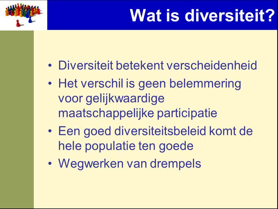 Wat is diversiteit? •Diversiteit betekent verscheidenheid •Het verschil is geen belemmering voor gelijkwaardige maatschappelijke participatie •Een goe