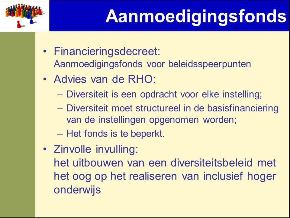 Aanmoedigingsfonds •Financieringsdecreet: Aanmoedigingsfonds voor beleidsspeerpunten •Advies van de RHO: –Diversiteit is een opdracht voor elke instel