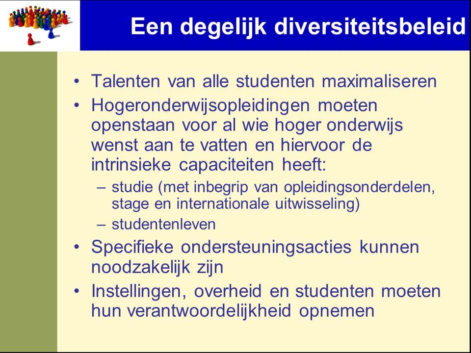 Een degelijk diversiteitsbeleid •Talenten van alle studenten maximaliseren •Hogeronderwijsopleidingen moeten openstaan voor al wie hoger onderwijs wen