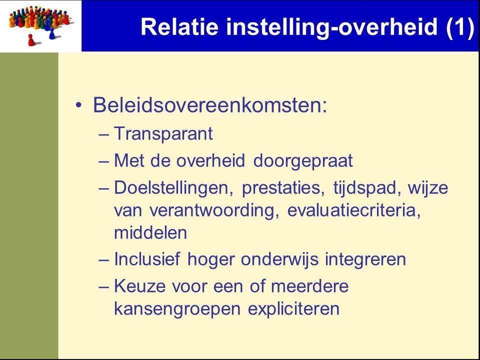 Relatie instelling-overheid (1) •Beleidsovereenkomsten: –Transparant –Met de overheid doorgepraat –Doelstellingen, prestaties, tijdspad, wijze van ver