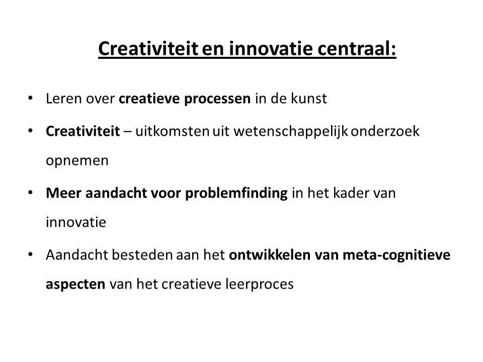 Creativiteit en innovatie centraal: • Leren over creatieve processen in de kunst • Creativiteit – uitkomsten uit wetenschappelijk onderzoek opnemen •