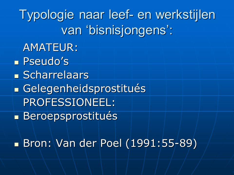 Typologie naar leef- en werkstijlen van 'bisnisjongens': AMATEUR:  Pseudo's  Scharrelaars  Gelegenheidsprostitués PROFESSIONEEL:  Beroepsprostitués  Bron: Van der Poel (1991:55-89)