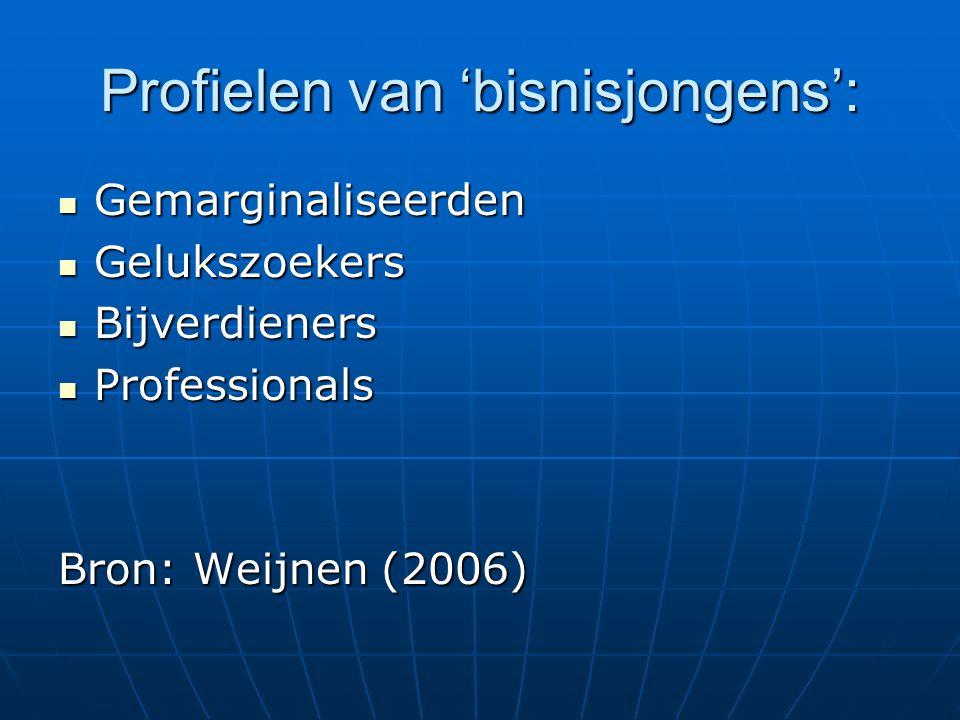 Profielen van 'bisnisjongens':  Gemarginaliseerden  Gelukszoekers  Bijverdieners  Professionals Bron: Weijnen (2006)