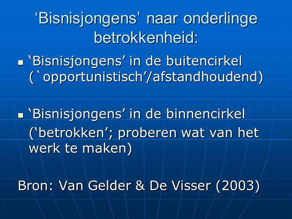 'Bisnisjongens' naar onderlinge betrokkenheid:  'Bisnisjongens' in de buitencirkel (`opportunistisch'/afstandhoudend)  'Bisnisjongens' in de binnencirkel ('betrokken'; proberen wat van het werk te maken) Bron: Van Gelder & De Visser (2003)