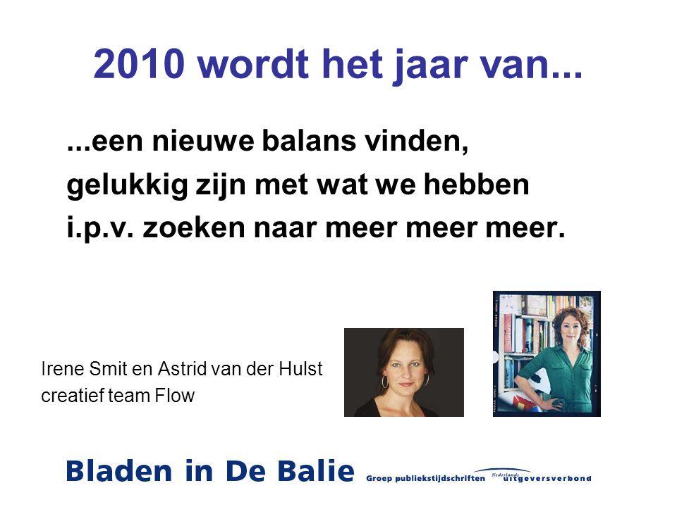 2010 wordt het jaar van......een nieuwe balans vinden, gelukkig zijn met wat we hebben i.p.v. zoeken naar meer meer meer. Irene Smit en Astrid van der