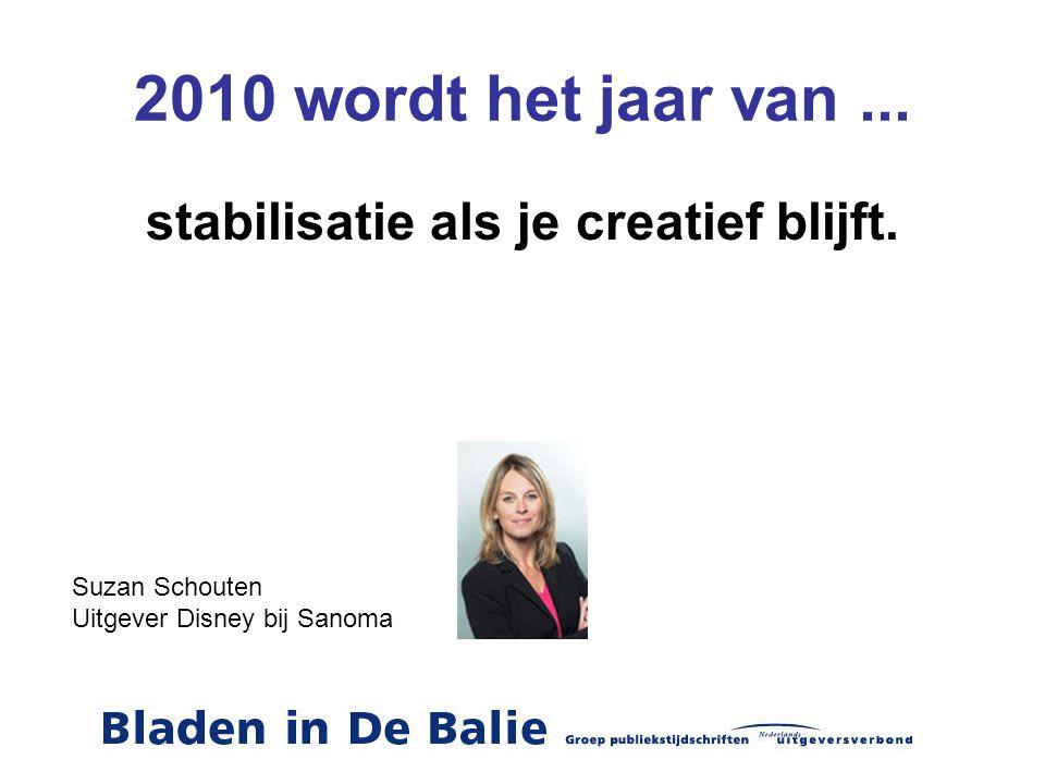 2010 wordt het jaar van... stabilisatie als je creatief blijft. Suzan Schouten Uitgever Disney bij Sanoma