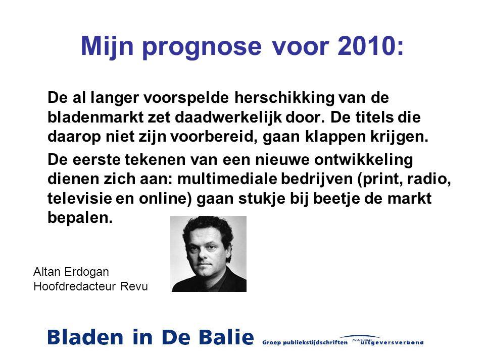 Mijn prognose voor 2010: De al langer voorspelde herschikking van de bladenmarkt zet daadwerkelijk door. De titels die daarop niet zijn voorbereid, ga
