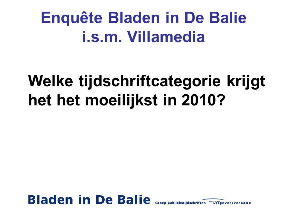 Enquête Bladen in De Balie i.s.m. Villamedia Welke tijdschriftcategorie krijgt het het moeilijkst in 2010?