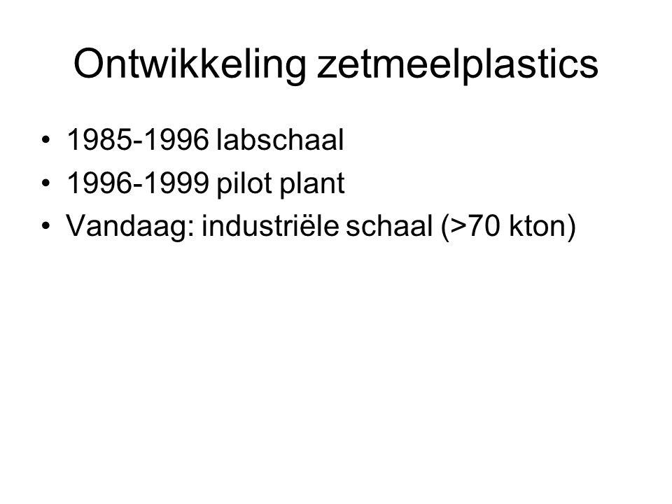 Ontwikkeling zetmeelplastics •1985-1996 labschaal •1996-1999 pilot plant •Vandaag: industriële schaal (>70 kton)