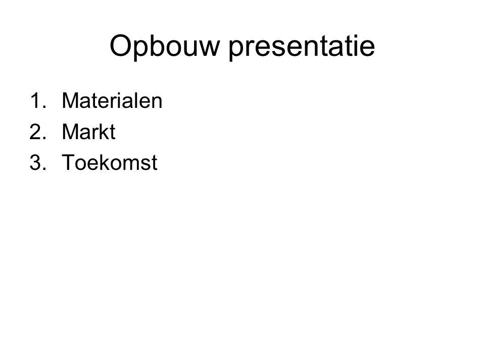 Opbouw presentatie 1.Materialen 2.Markt 3.Toekomst