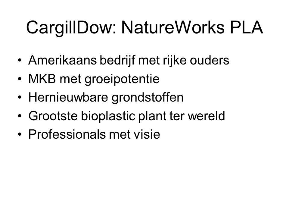 CargillDow: NatureWorks PLA •Amerikaans bedrijf met rijke ouders •MKB met groeipotentie •Hernieuwbare grondstoffen •Grootste bioplastic plant ter were