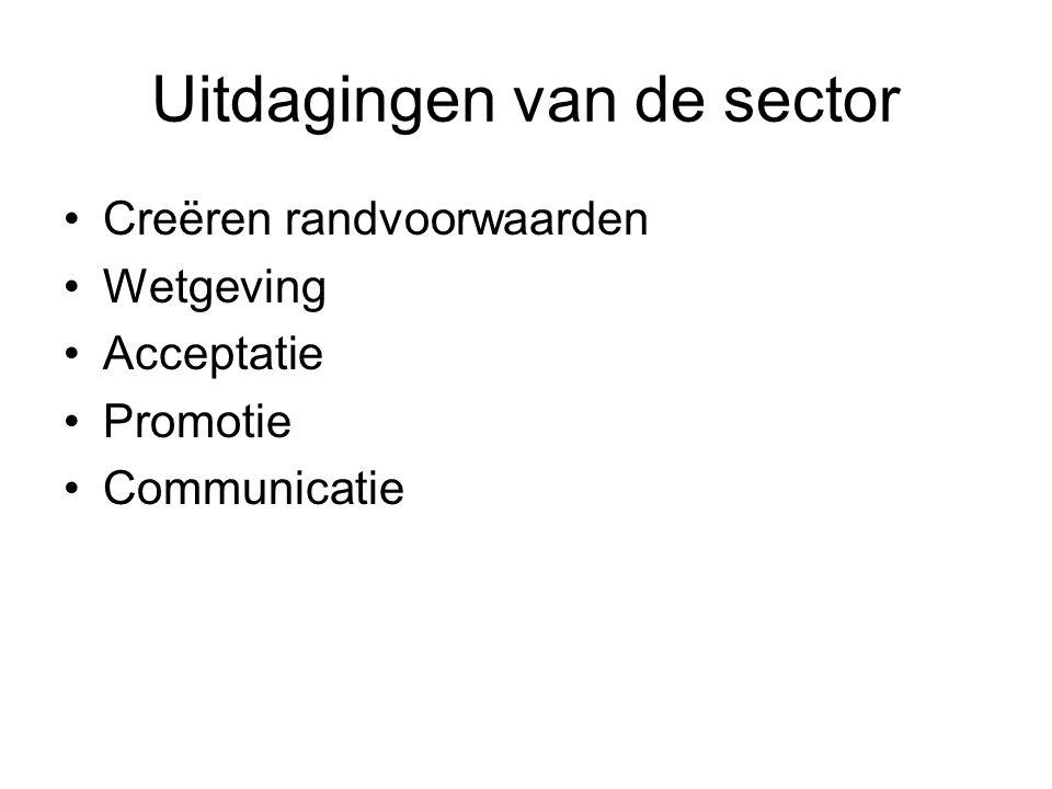 Uitdagingen van de sector •Creëren randvoorwaarden •Wetgeving •Acceptatie •Promotie •Communicatie