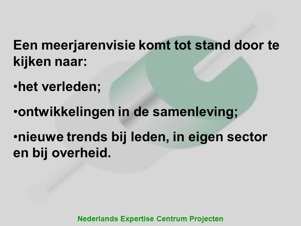Nederlands Expertise Centrum Projecten Een meerjarenvisie komt tot stand door te kijken naar: •het verleden; •ontwikkelingen in de samenleving; •nieuw