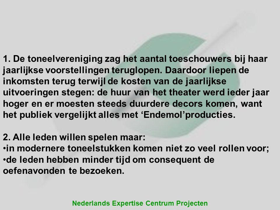 Nederlands Expertise Centrum Projecten 1. De toneelvereniging zag het aantal toeschouwers bij haar jaarlijkse voorstellingen teruglopen. Daardoor liep