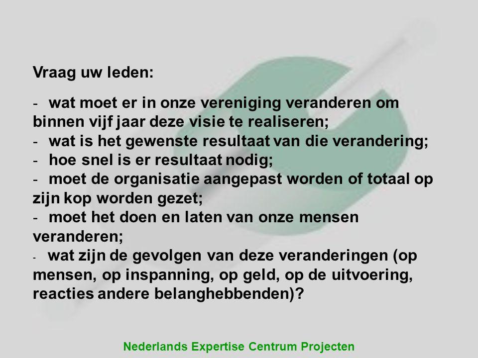 Nederlands Expertise Centrum Projecten Vraag uw leden: - wat moet er in onze vereniging veranderen om binnen vijf jaar deze visie te realiseren; - wat