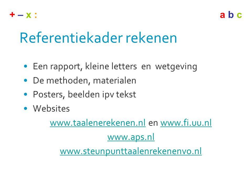 + – x :a b c Referentiekader rekenen •Een rapport, kleine letters en wetgeving •De methoden, materialen •Posters, beelden ipv tekst •Websites www.taal