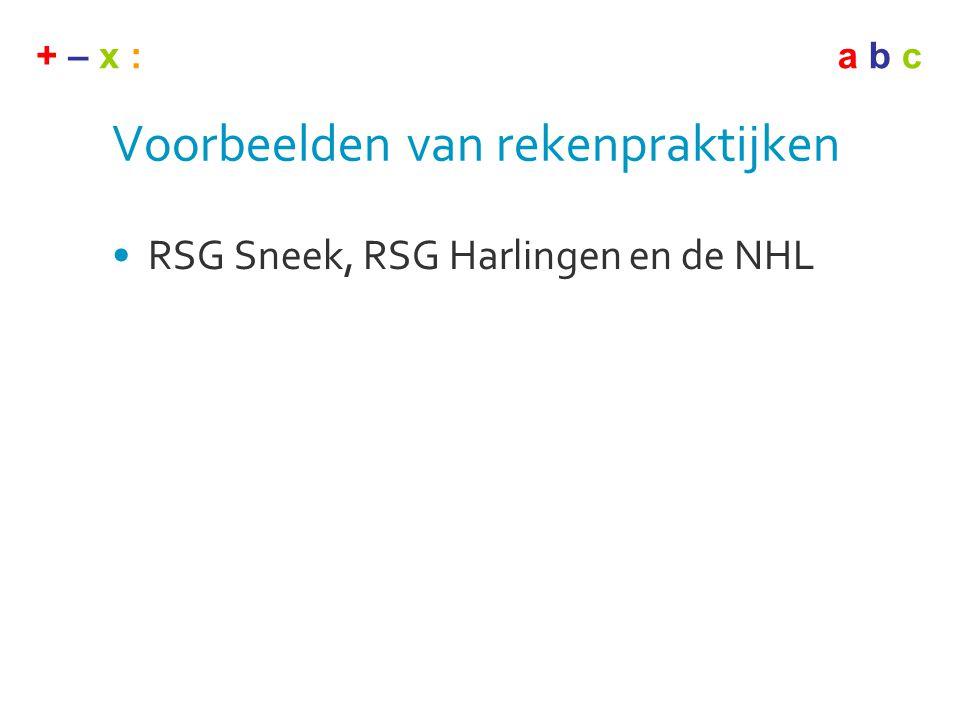 + – x :a b c Voorbeelden van rekenpraktijken •RSG Sneek, RSG Harlingen en de NHL