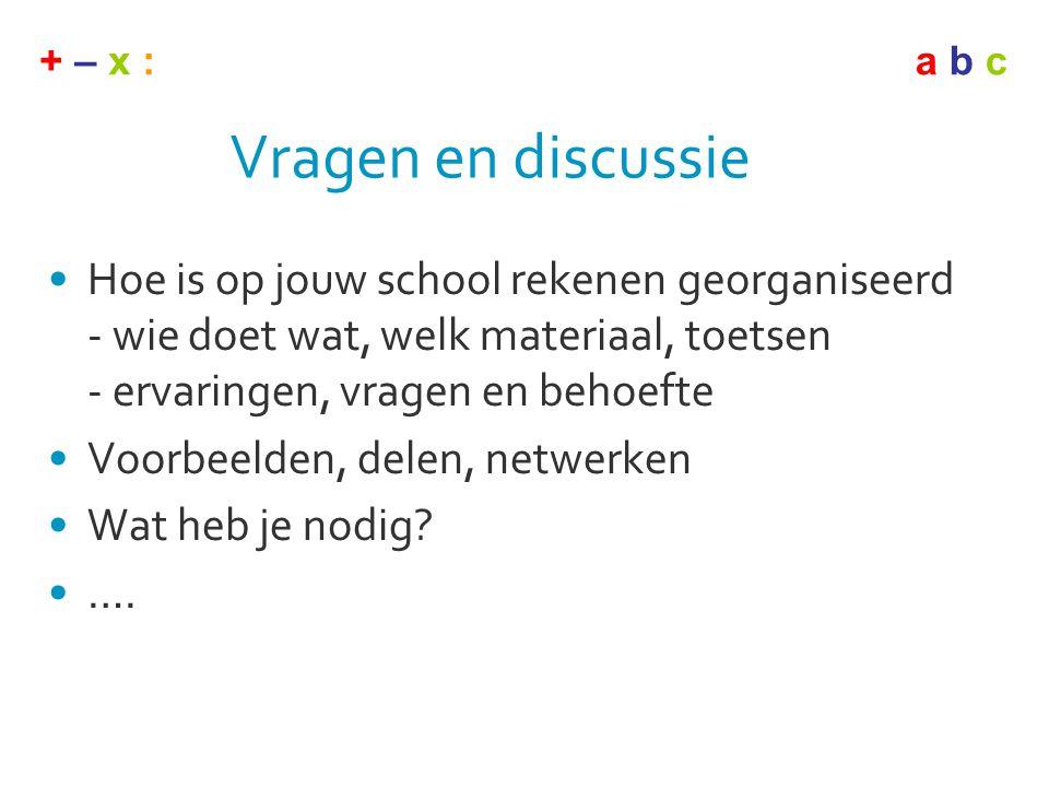 + – x :a b c Vragen en discussie •Hoe is op jouw school rekenen georganiseerd - wie doet wat, welk materiaal, toetsen - ervaringen, vragen en behoefte