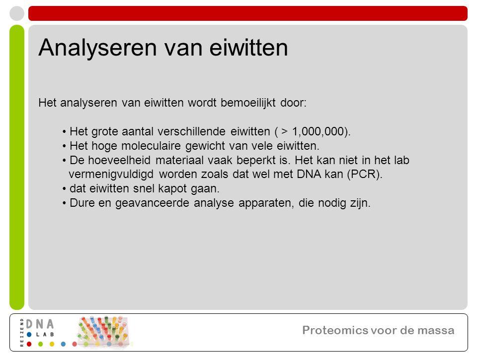 Analyseren van eiwitten Het analyseren van eiwitten wordt bemoeilijkt door: • Het grote aantal verschillende eiwitten ( > 1,000,000). • Het hoge molec