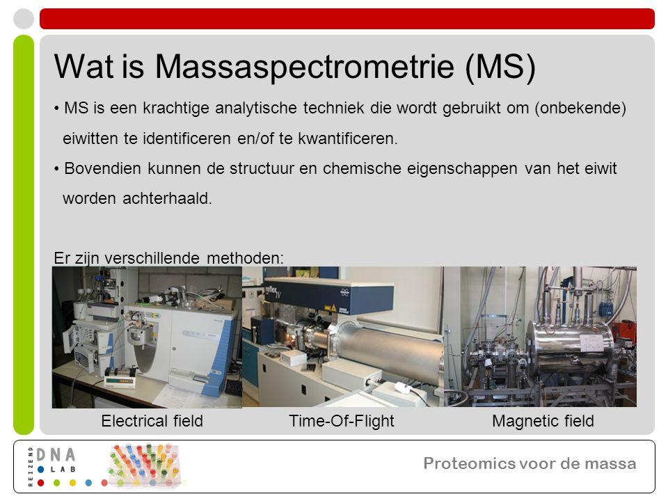 • MS is een krachtige analytische techniek die wordt gebruikt om (onbekende) eiwitten te identificeren en/of te kwantificeren. • Bovendien kunnen de s