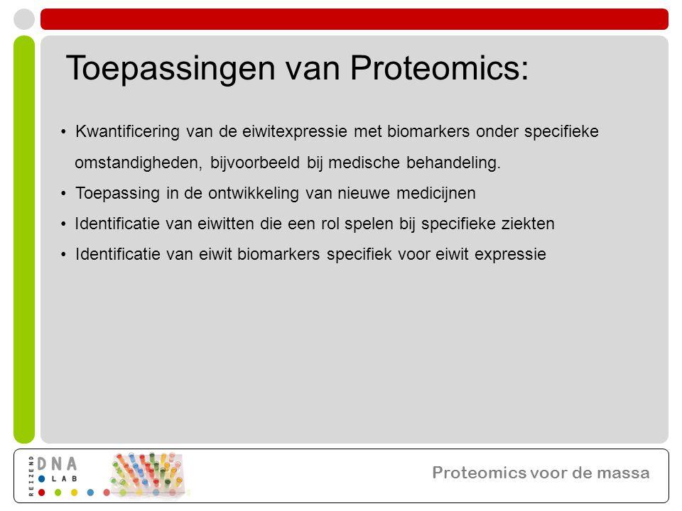 Toepassingen van Proteomics: • Kwantificering van de eiwitexpressie met biomarkers onder specifieke omstandigheden, bijvoorbeeld bij medische behandeling.