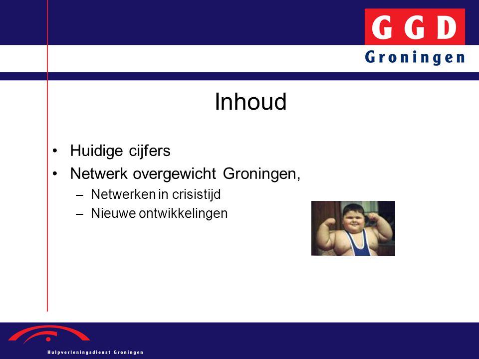Inhoud •Huidige cijfers •Netwerk overgewicht Groningen, –Netwerken in crisistijd –Nieuwe ontwikkelingen