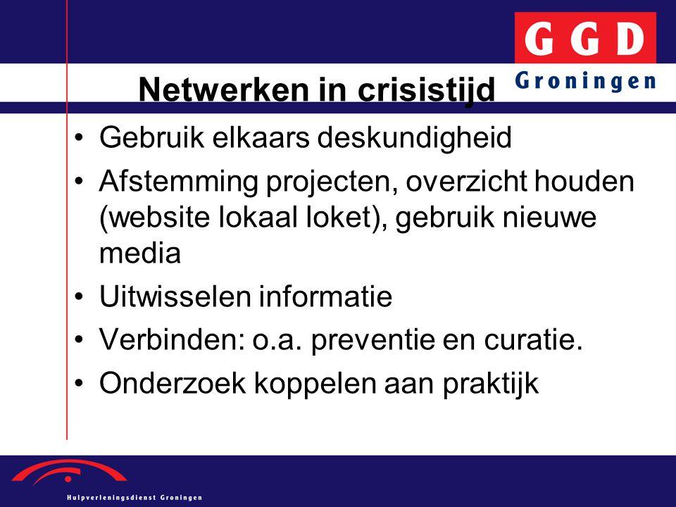 Netwerken in crisistijd •Gebruik elkaars deskundigheid •Afstemming projecten, overzicht houden (website lokaal loket), gebruik nieuwe media •Uitwissel