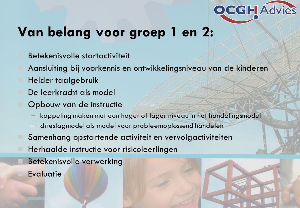 Van belang voor groep 1 en 2:  Betekenisvolle startactiviteit  Aansluiting bij voorkennis en ontwikkelingsniveau van de kinderen  Helder taalgebrui