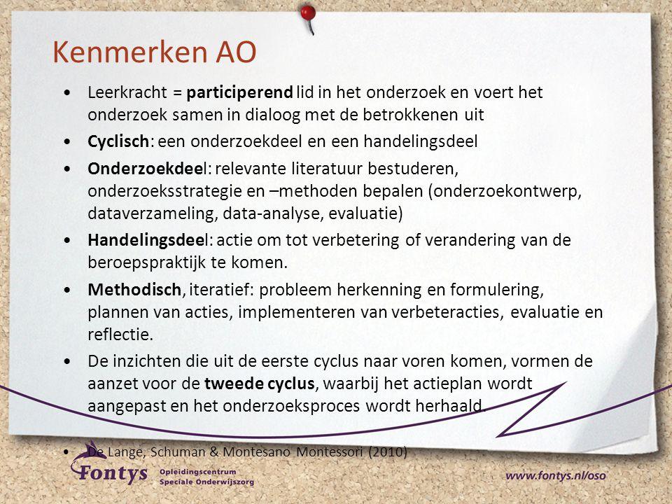 Kenmerken AO •Leerkracht = participerend lid in het onderzoek en voert het onderzoek samen in dialoog met de betrokkenen uit •Cyclisch: een onderzoekd