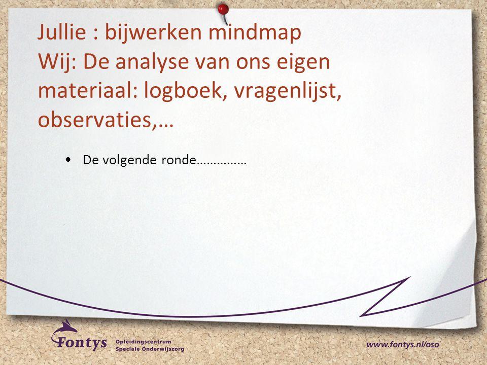 Jullie : bijwerken mindmap Wij: De analyse van ons eigen materiaal: logboek, vragenlijst, observaties,… •De volgende ronde……………