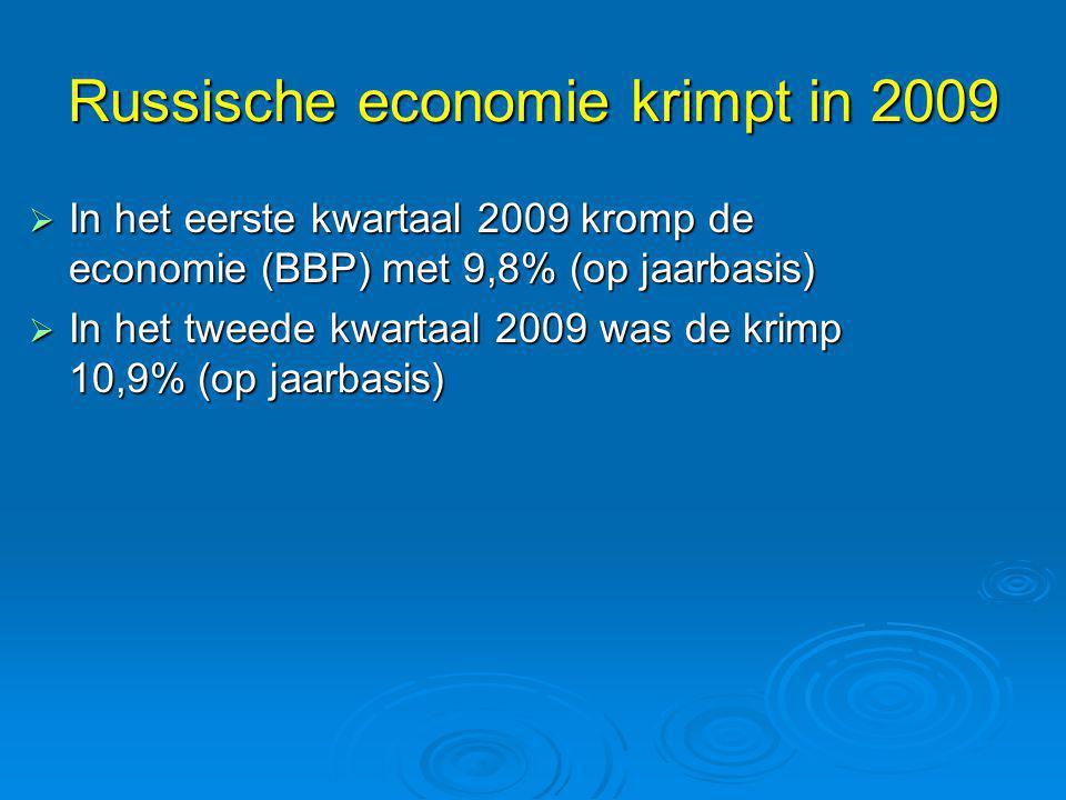 Russische economie krimpt in 2009  In het eerste kwartaal 2009 kromp de economie (BBP) met 9,8% (op jaarbasis)  In het tweede kwartaal 2009 was de k