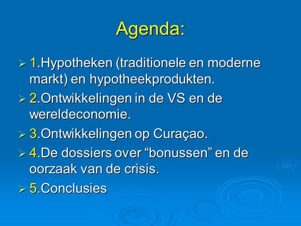 Agenda:  1.Hypotheken (traditionele en moderne markt) en hypotheekprodukten.  2.Ontwikkelingen in de VS en de wereldeconomie.  3.Ontwikkelingen op