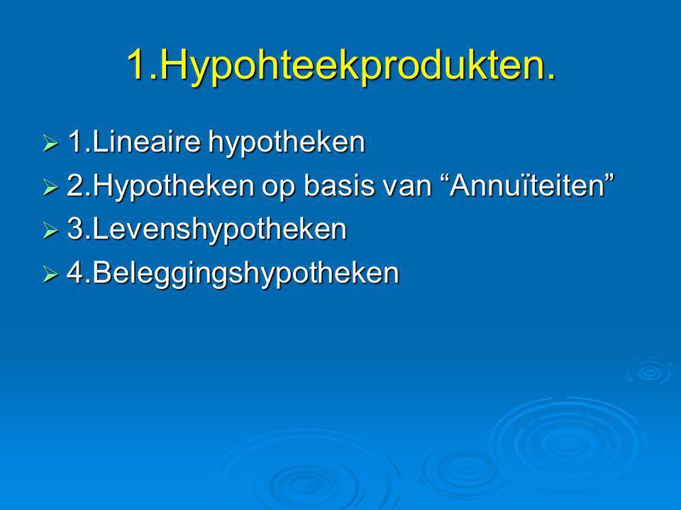 """1.Hypohteekprodukten.  1.Lineaire hypotheken  2.Hypotheken op basis van """"Annuïteiten""""  3.Levenshypotheken  4.Beleggingshypotheken"""