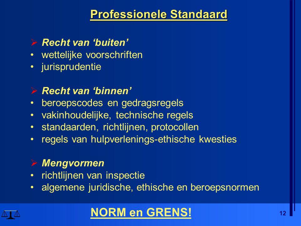 12 Professionele Standaard  Recht van 'buiten' •wettelijke voorschriften •jurisprudentie  Recht van 'binnen' •beroepscodes en gedragsregels •vakinho