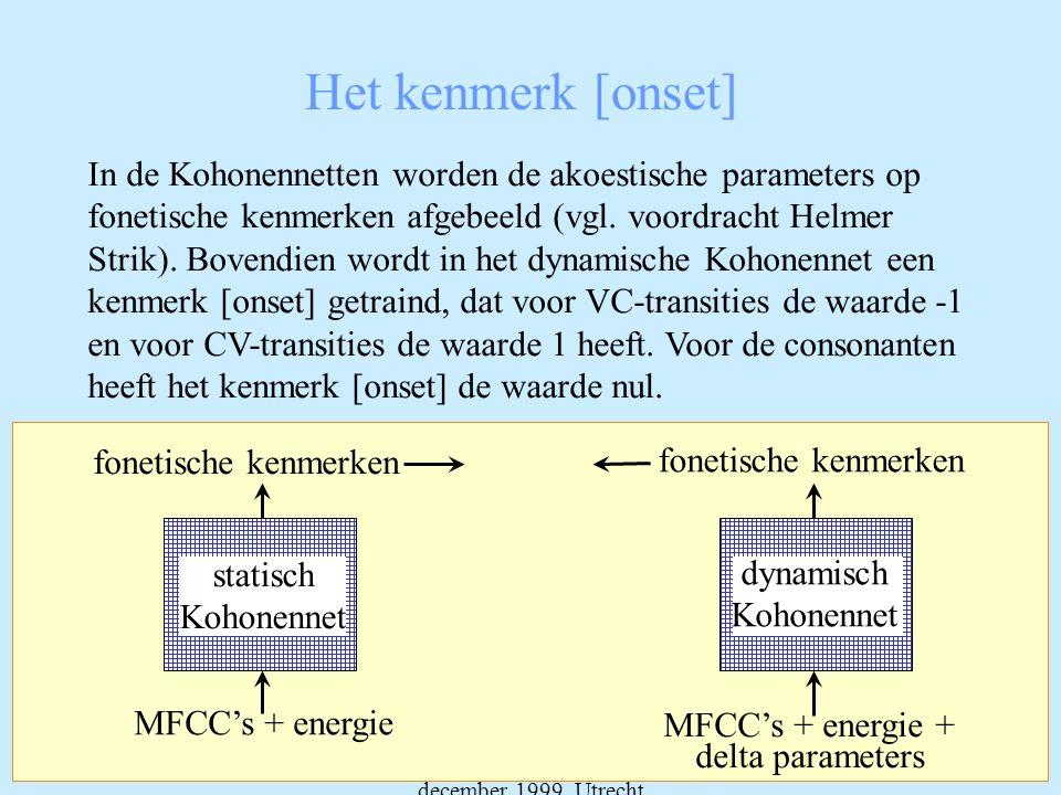 Dag van de Fonetiek, 17 december 1999, Utrecht Het kenmerk [onset] In de Kohonennetten worden de akoestische parameters op fonetische kenmerken afgebeeld (vgl.