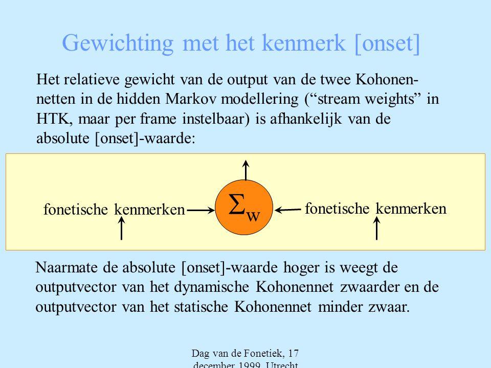 Dag van de Fonetiek, 17 december 1999, Utrecht Gewichting met het kenmerk [onset] Het relatieve gewicht van de output van de twee Kohonen- netten in de hidden Markov modellering ( stream weights in HTK, maar per frame instelbaar) is afhankelijk van de absolute [onset]-waarde: ww fonetische kenmerken Naarmate de absolute [onset]-waarde hoger is weegt de outputvector van het dynamische Kohonennet zwaarder en de outputvector van het statische Kohonennet minder zwaar.