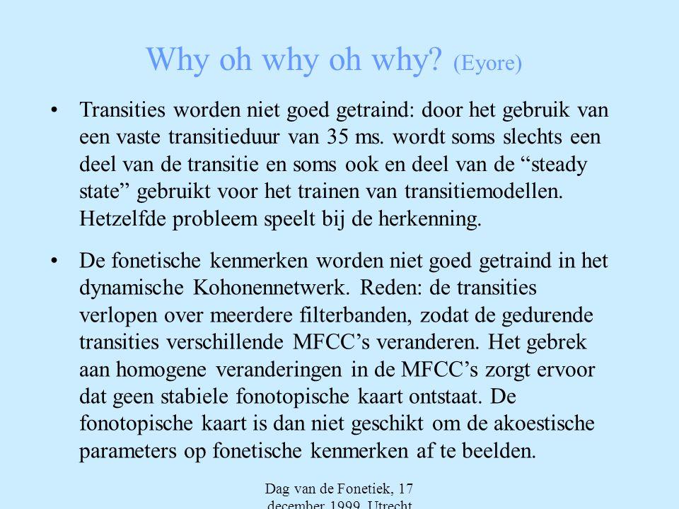 Dag van de Fonetiek, 17 december 1999, Utrecht Why oh why oh why? (Eyore) •Transities worden niet goed getraind: door het gebruik van een vaste transi