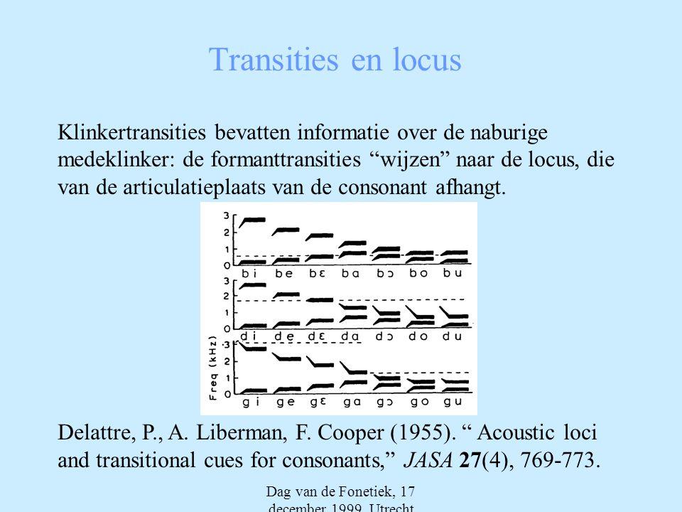 Dag van de Fonetiek, 17 december 1999, Utrecht Transities en locus Klinkertransities bevatten informatie over de naburige medeklinker: de formanttransities wijzen naar de locus, die van de articulatieplaats van de consonant afhangt.
