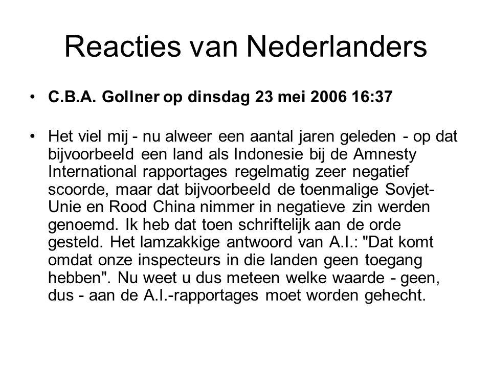 Reacties van Nederlanders •C.B.A.