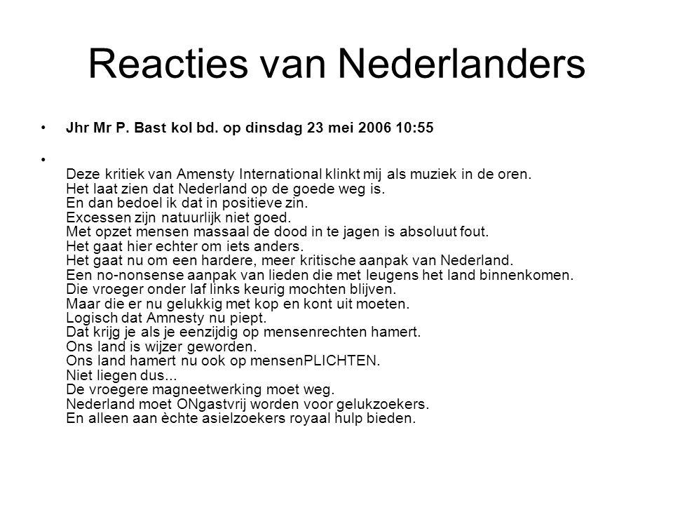 Reacties van Nederlanders •Jhr Mr P. Bast kol bd.